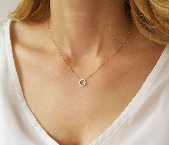 Dainty circle necklace Karma necklace Gold circle by HLcollection