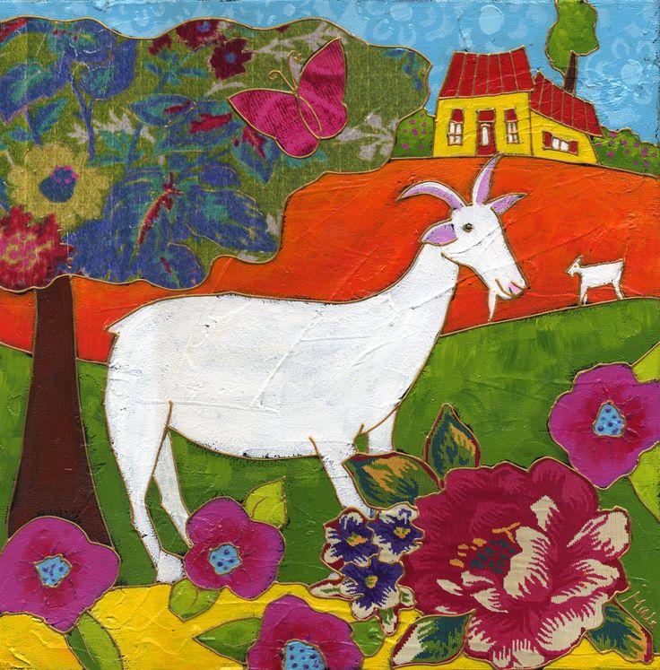 La chèvre Florence par Isabelle Malo • Acrylique sur toile et collage • Mixed media • Folk art • www.isamalo.com • Artiste peintre du Québec • Art naïf