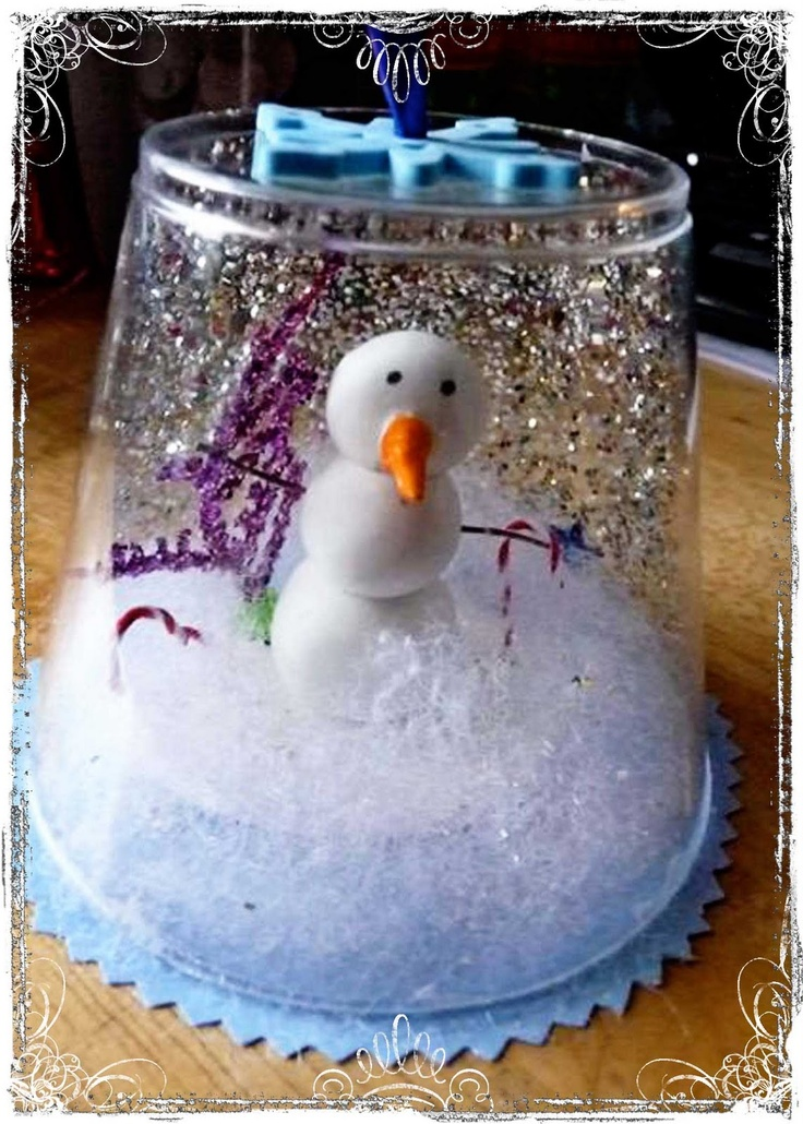 Plastic cup snow globe christmas pinterest ornaments for Snow globe craft for kids