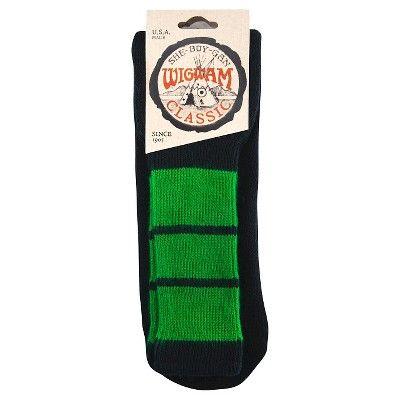 Wigwam Classic King Tube Men's Knee High Three Stripe Sock - (Black/Kelly), Kelly Green
