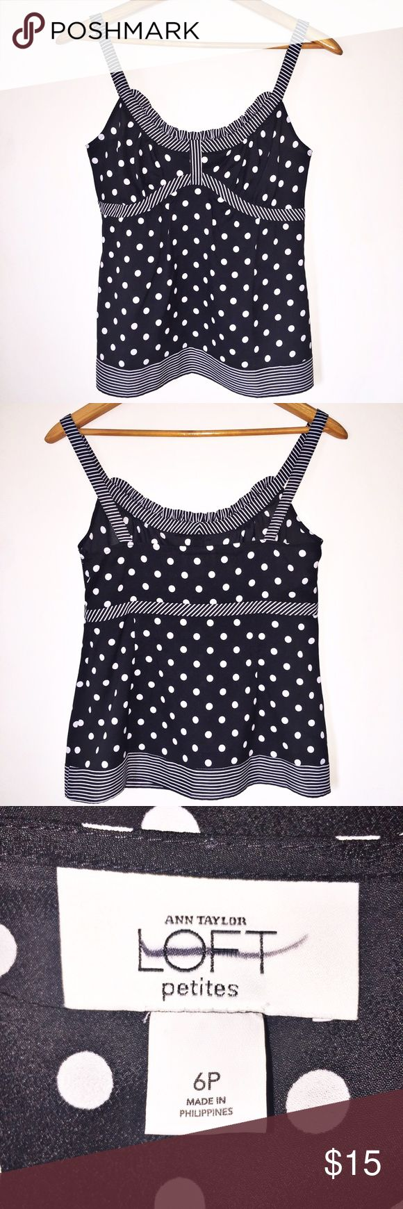 """Ann Taylor Loft Petites Sleeveless Blouse/Tank Like new condition, worn less than a handful of times. Very chic, very stylish, very professional! You could definitely go from work to a night out on the town in this top! Black with white polka dots and stripes. Empire waist. Semi sheer, but you cannot see through it when wearing it. Measures 16"""" across chest. 15"""" across the empire waist. 23"""" long. Please don't hesitate to make an offer or to ask any questions. Smoke-free, pet free home. Same…"""