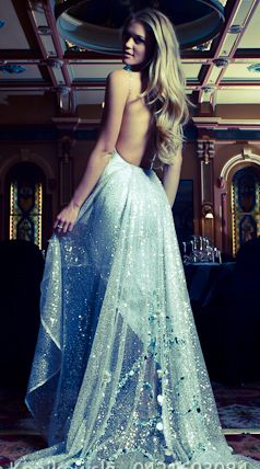 a blue gown.