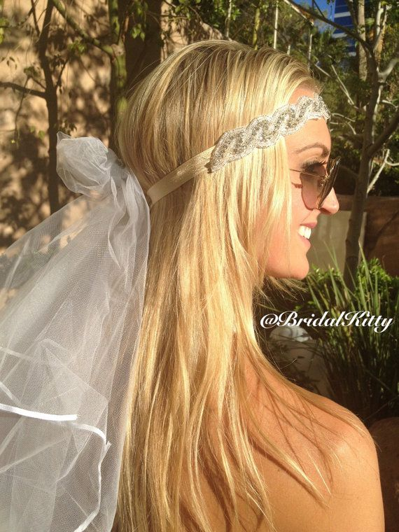 Wedding Veil Bachelorette Party Rhinestone Crystal by BridalKitty1
