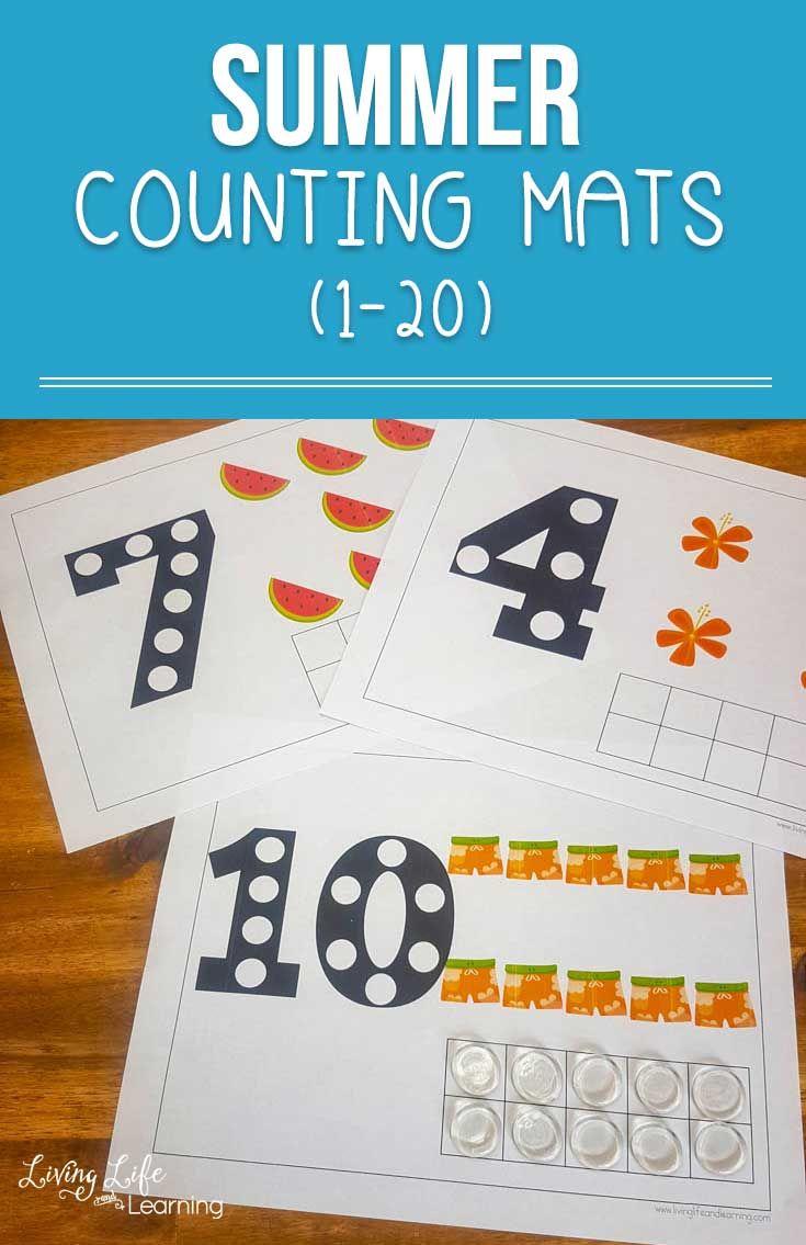 Summer Counting Mats Kids Math Worksheets Kids Math Activities Math For Kids [ 1135 x 735 Pixel ]