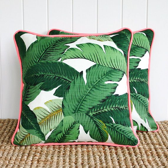 "Neon Green Palm Banana leaf Outdoor Cushion or Pillow Cover with piping | 45cm sq | 18"" sq on Etsy, $55.00 AUD"