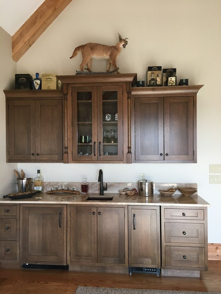 Trophy Room Wet Bar DuraSupreme Craftsman Panel Quarter Sawn Red Oak  Stained Praline With Standard Sheen Glass Doors, Medium Stained Oak,  Appliances Ice ...