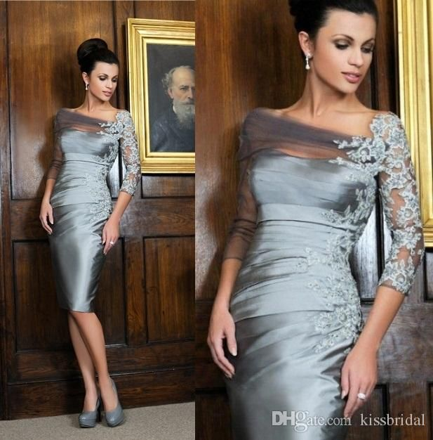 2017 Distinctive Silver Knee-length Sheath Mother of the Bride Dresses Off-shoulder Lace 3/4 Long Sleeves Short Evening Gowns