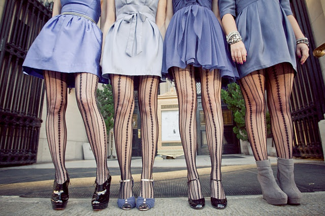 Different colour dresses with same tights