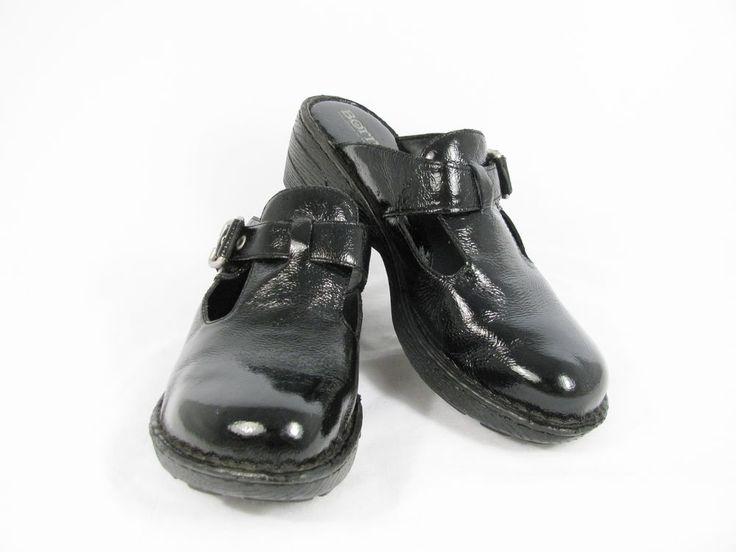 BORN Women's Clogs Open Back Buckle Strap Black Patent Leather Size 9A #Born #Clogs #Casual