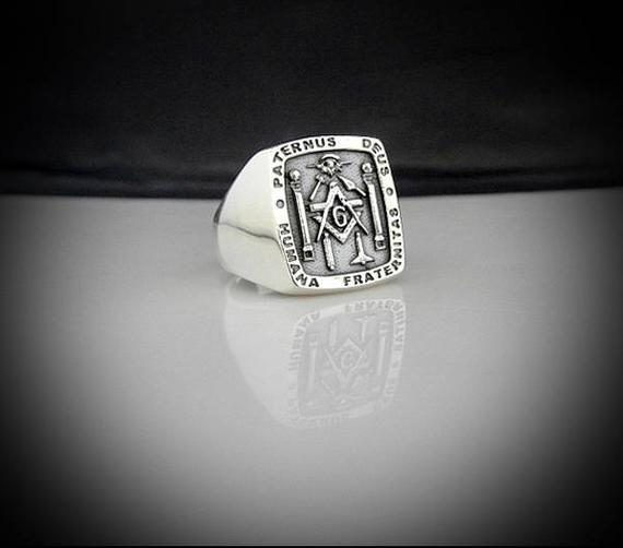 Masonic Ring Sterling Silver Bespoke Paternus Deus Humana