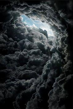 black clouds, eye of storm