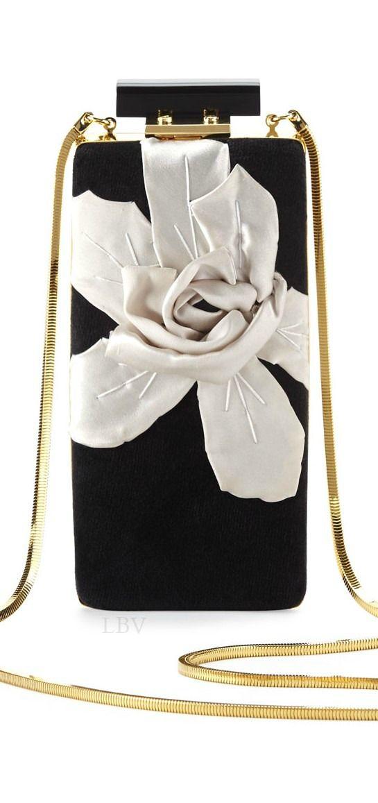 Lanvin Vertical Floral Velvet Minaudiere   LBV ♥✤