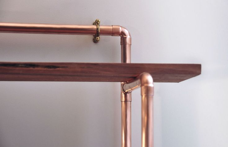 Small 2 shelf, 22mm copper pipe unit with reclaimed hardwood shelves