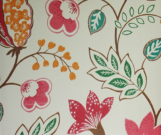 Benvarden Wallpaper Cheerful contemporary floral wallpaper in orange,pink and cerise on a dark cream background