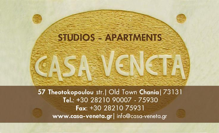 Hotel Casa Veneta Theotokopoyloy 55-57 chania,73131 info@casa-veneta.gr