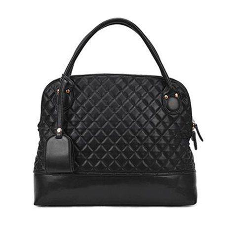 Vintage Style Black Checked and Rivets Design Women's Tote Bag
