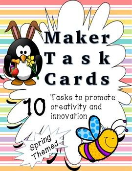 Makerspace Task Cards - Spring Themed