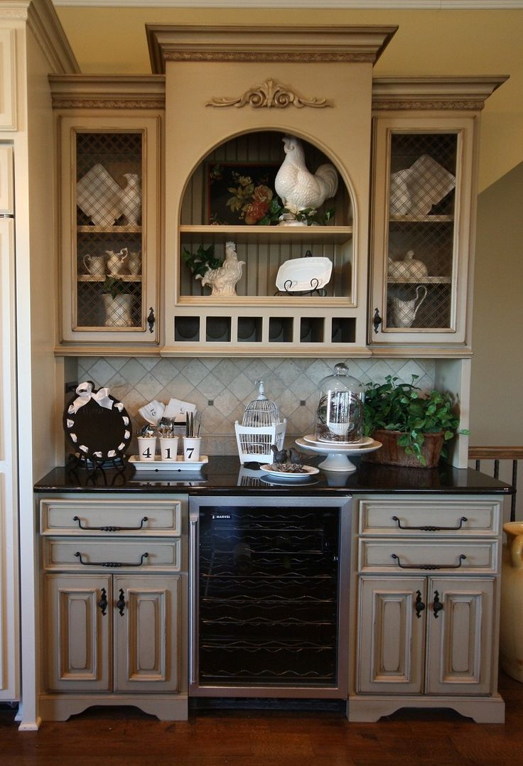 Kitchen Cabinet Buffet Ideas With A Wine Cooler! | For The Home | Dining Room Walls