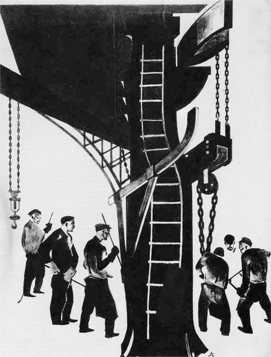 "Alexander Deineka - Steam Hammer at the Kolomna Plant. (Illustration for ""U Stanka""), 1925"