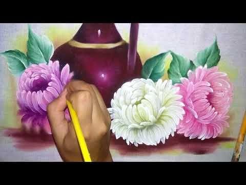 Como pintar crisântemo e folha. - YouTube