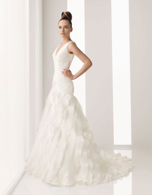 Floor length chapel train organza bridal gown with beading $458.57: Ruffles Wedding Dresses, Wedding Dressses, Weddings, Dress Wedding, Ruffle Wedding Dresses, Dresses Wedding Dresses, Bridal Gowns, Chapel Training, Trains