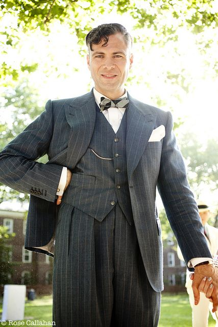 1920's Dandy- the pinstripes look great on everyone! Also note the hint of a pocket watch, which is another great accessory.