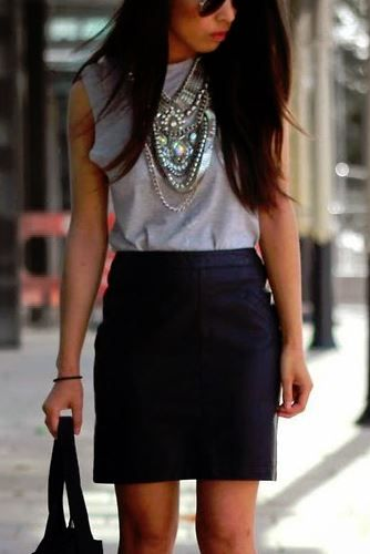 Skirt, muscle tee and statement necklace. Very cute
