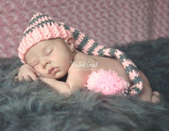 Baby Crochet Long Tail Elf Hat, Baby Crochet Elf Hat, Newborn Hat