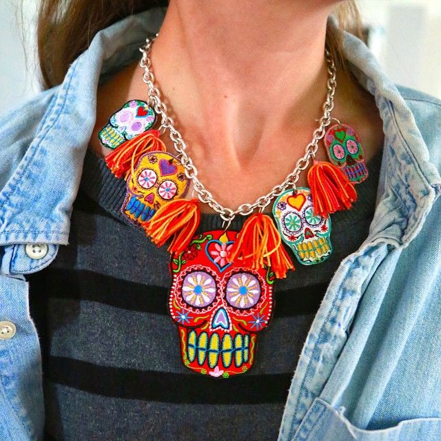 Skull season. It's here! DIY necklace made from patches courtesy of @craftychica and @ilovetocreate
