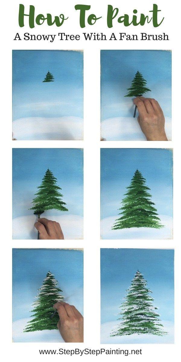 How To Paint A Christmas Tree Christmas Tree Painting Christmas Paintings Tree Painting