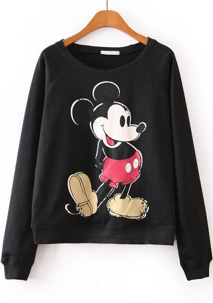 Sudadera suelta Mickey manga larga-Sheinside