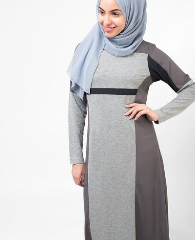 Grey Panel Jilbab