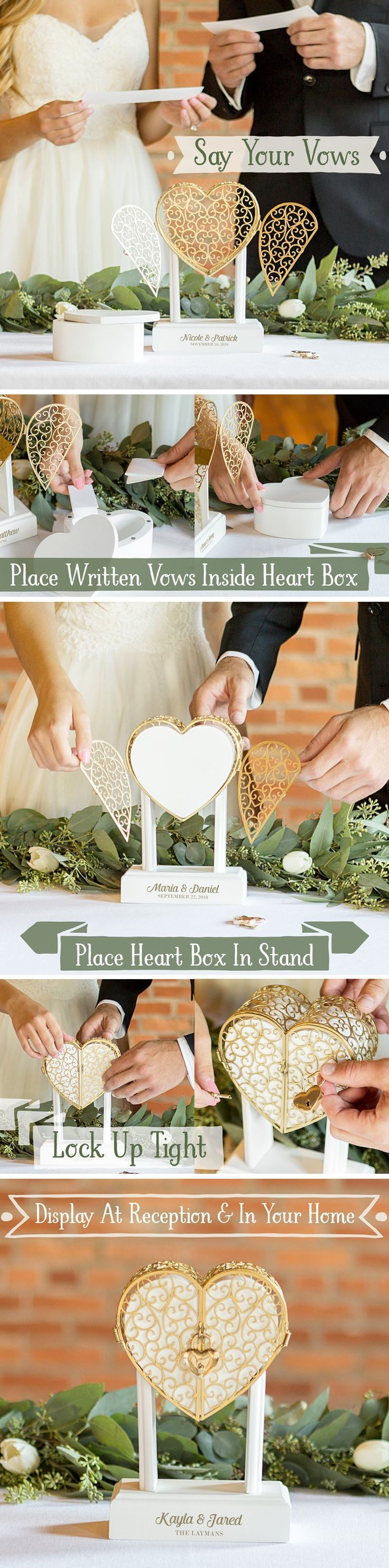 Wedding Keepsake Idea - Use a lockbox to keep your wedding vows safe and secure. Use the lockbox as a decorative display during your wedding ceremony. The bride and groom can place their vows in the lockbox during the ceremony and will have an everlasting