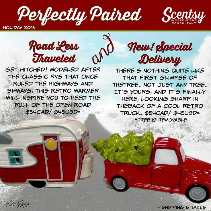 SCENTSY NEW! SPECIAL DELIVERY WARMER. Pair it with Our returning ROAD-LESS TRAVELED WARMER. Special Delivery Warmer Available 10/16/2016 - While Supplies Last. Road-Less Traveled Warmer Available Now.