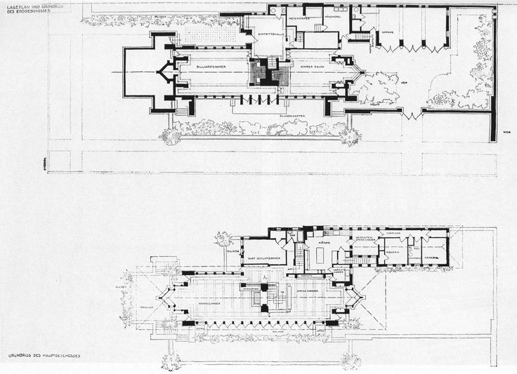 F l wright robie house plan chicago 1908 10 frank for Famous building blueprints