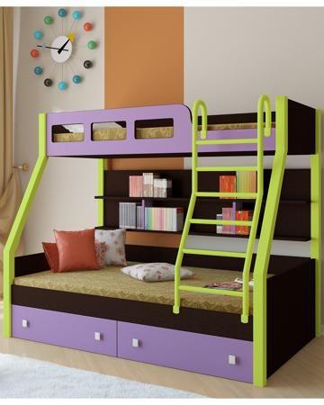 РВ мебель Рио каркас венге/салатовый фиолетовая  — 21900р. ----- Двухъярусная кровать Рио каркас венге/салатовый фиолетовая РВ мебель позволит вам значительно сэкономить жизненное пространство и обеспечить два полноценных спальных места.