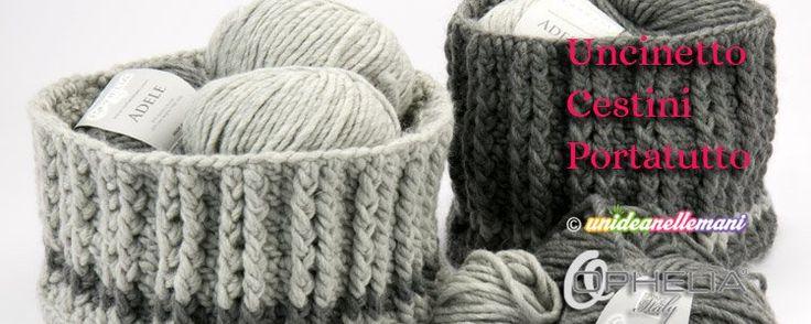 Tutorial con foto, schema e spiegazioni per creare pratici cestini all'uncinetto rigidi con la lana. Belli come ceste decorative, utili come portaoggetti.