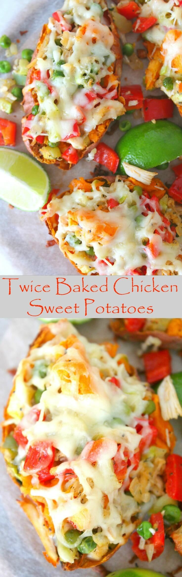 TWICE BAKED CHICKEN VEGGIE SWEET POTATOES - If you're looking for amazing, mouthwatering, comfort food that's also healthy these twice baked chicken sweet potatoes are your best bet!