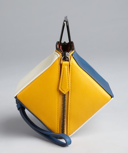 Fendi Yellow And Blue Leather Colorblock Cube Wristlet