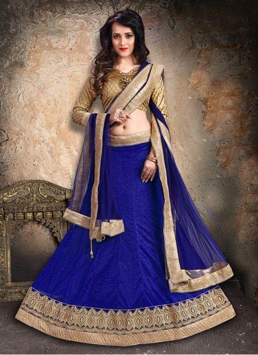 Blue Lycra Zari Work Designer Lehenga Choli #Lehenga #Blue #ZariWork