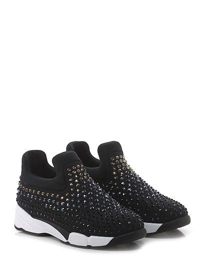Pinko - Sneakers - Donna - Sneaker in tessuto tecnico elasticizzato con multi strass su tomaia e suola in gomma. Tacco 45, platform 25 con battuta 20. - NERO - € 298.00