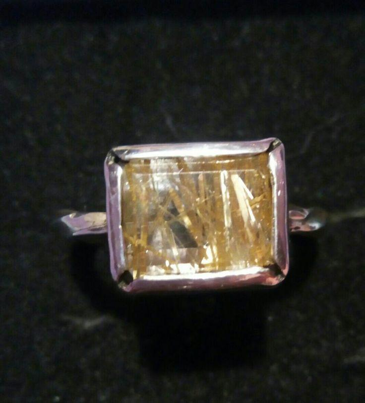 Anillo de plata con cuarzo rutilado dorado...cristian dry