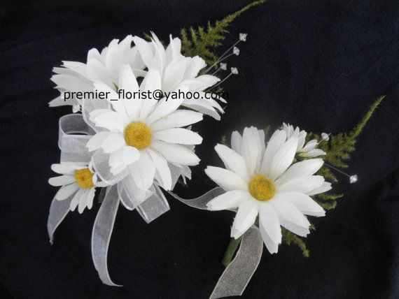 8 pc. set: Daisy Boutonniere and Corsage. Two wedding corsages and six white daisy boutonnieres. White DAISY Silk Flowers.