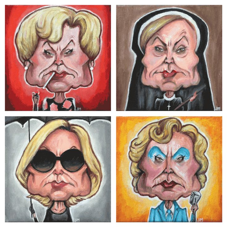 """- Inspired by Lange's characters in American Horror Story from Seasons 1-4 - Oil on Canvas - Set of 4 - Approximately 8"""" x 8"""" each - Signed Originals"""