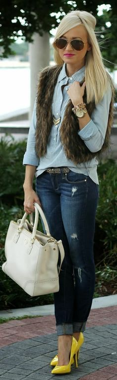 Fur Scarf and Shirt with Nice jeans:Street Style