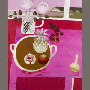 Bonhams 1793 : Mary Fedden R.A. (British, born 1915) Still life with a pineapple and figs 91.5 x 77 cm. (36 x 30 1/4 in.)