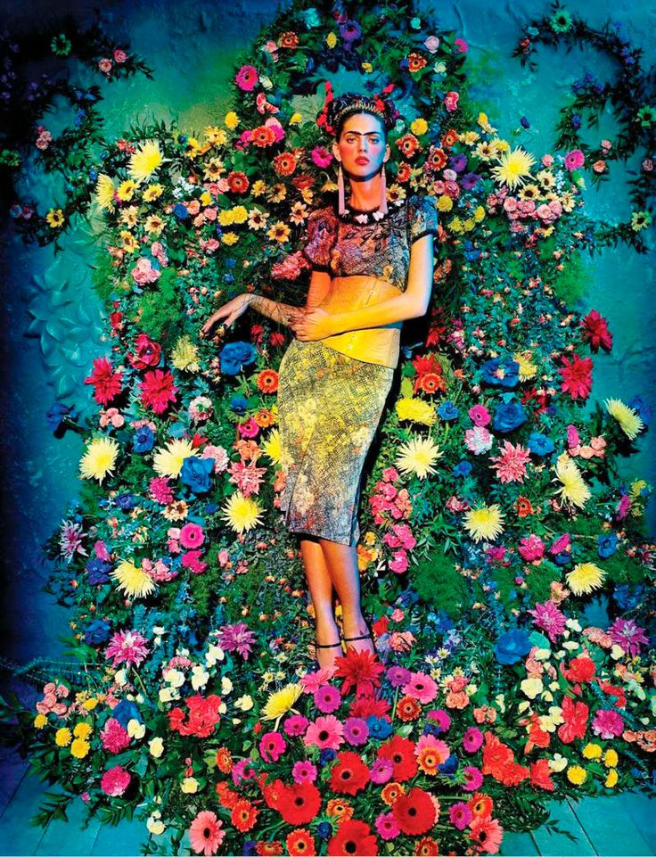 Sandrine & Michael shoot Agnes Sokolowska in a Frida Kahlo inspired shoot, styled by Laurent Dombrowicz, for the latest issue of Italian Amica magazine.