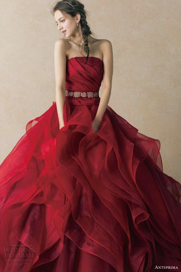 wedding dress deep red strapless ball gown ruched bodice belt ruffle skirt ant0068