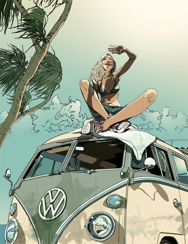 #gavinreece #newdivision #illustration #stylised #contemporary #textured #character #vw #campervan #sun