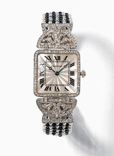 Art Deco reloj de platino, ónix y diamante  de Cartier, alrededor del año 1912